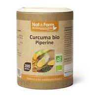 Nat&form Eco Responsable Curcuma + Pipérine Bio Gélules B/200 à ANDERNOS-LES-BAINS